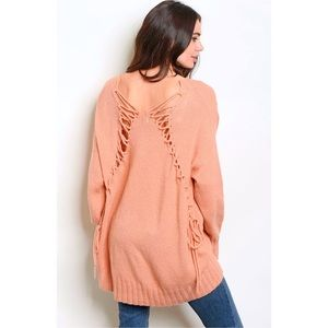 Salmon Oversize Ultra Soft Laced Jumper Sweater